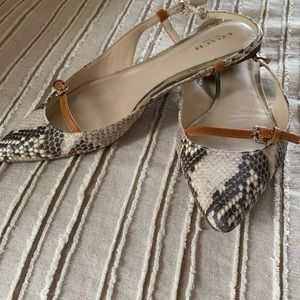 8.5 snakeskin and tan Coach a bit too small.